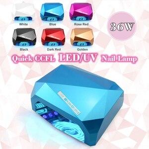Image 2 - 36W LED CCFL UV tırnak kurutucu elmas şekli kür lambası makinesi için UV jel oje