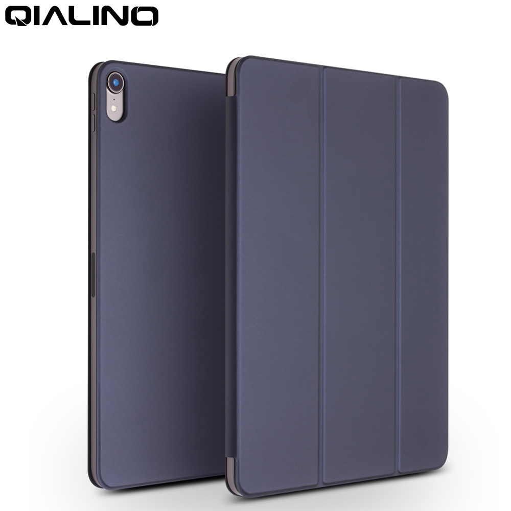 QIALINO Ultra Slim Genuine Leather Tablet Cover for Apple iPad Pro 12 9 2018 Wake up