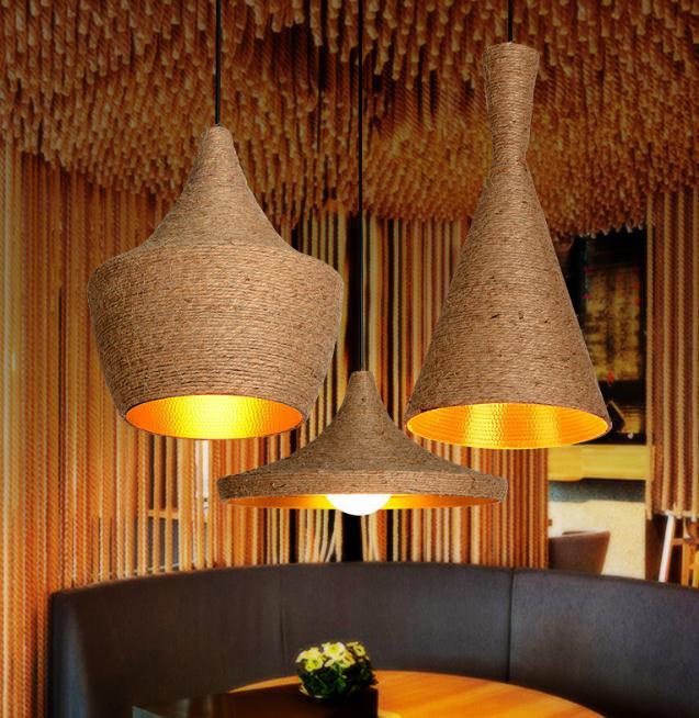 Rope Vintage Pendant Lights Loft Avize Nordic Hanglamp Restaurant Kitchen Light Suspension Luminaire Home Industrial Lighting