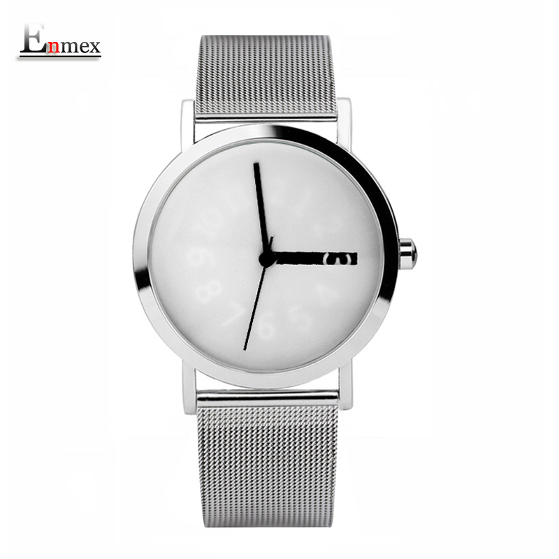 2017 Enmex creative design  wristwatch knit steel frabic band  Changeable number hour hand simple design  fashion quartz watches 2017 gift enmex creative simple design brief face with a red pointer steel band water prof young and fashion quartz watch