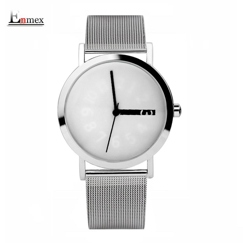 Prix pour 2017 enmex creative conception montre-bracelet en acier en tricot frabic bande variable nombre heure main simple design de mode montres à quartz