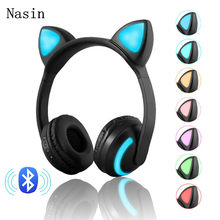 Bluetooth Stereo Cat Ear Headphones Flashing Glowing cat ear headphones Gaming Headset Earphone 7 Colors LED light(China)