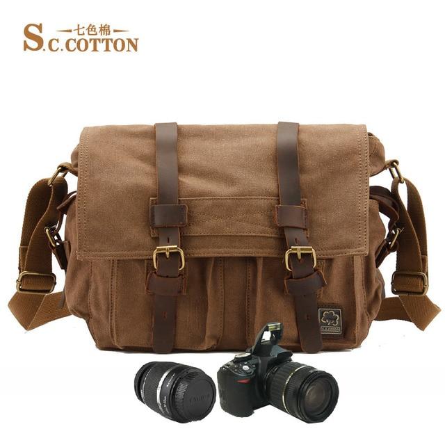 Men s Leisure Fashion Vintage Canvas Cotton Leather Tote Bag School Bag  Camera Satchel Bag 4e4bc007560