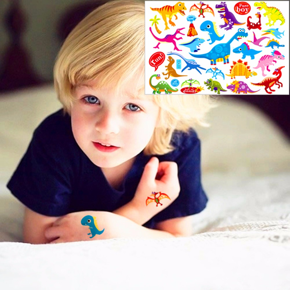 25 Style Child Love Temporary font b Body b font Art Toys Cute Dinosaurs Flash Tattoo