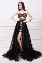 2015 Vestidos De Fiesta Fashion Party Gown Strapless Lace Applique Beaded Black Tulle Detachable Skirt High Low Girl Prom Dress все цены