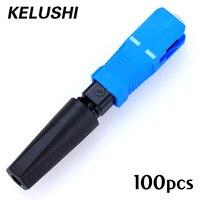 100 piezas. Envío Gratis Ftth integrado tipo SC Cable de fibra de caída en frío conector rápido SC conector de montaje rápido KELUSHI