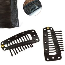 High Quality I- Shape Black Colored Wigs Hair Clips 10Pcs Metal Snap for Feather Extensions Weft 36mm