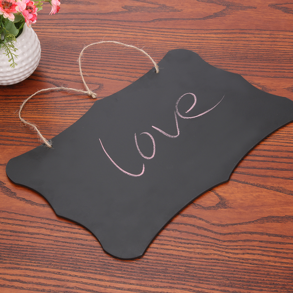 Hanging Chalkboard Sign Double Sided Blackboard Erasable Memo Message Board with Hanging String Party Direction Signs