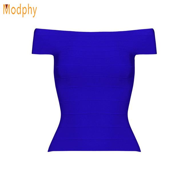 Nueva llegada sexy mujeres corto slash cuello vendaje jersey top sin mangas elásticas de color rojo azul negro blusa entallada HLT555
