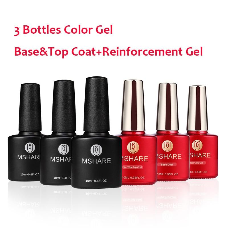 MSHARE 6pcs/set Base Coat+No/Clean Top Coat+Reinforcement Gel+3pcs Nail Gel Polish  Mix Color Professional Nail Art UV Gel Pure akg wms40 mini2 mix set bd ism2 3