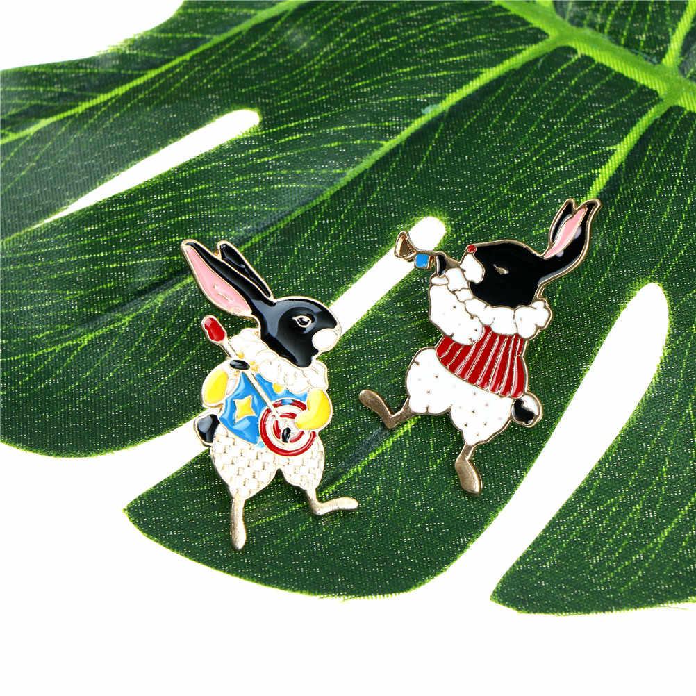 Pinos e broches músico banjo/acordeão/trompete coelho pino pinos coelho jóias bonito kawaii presentes