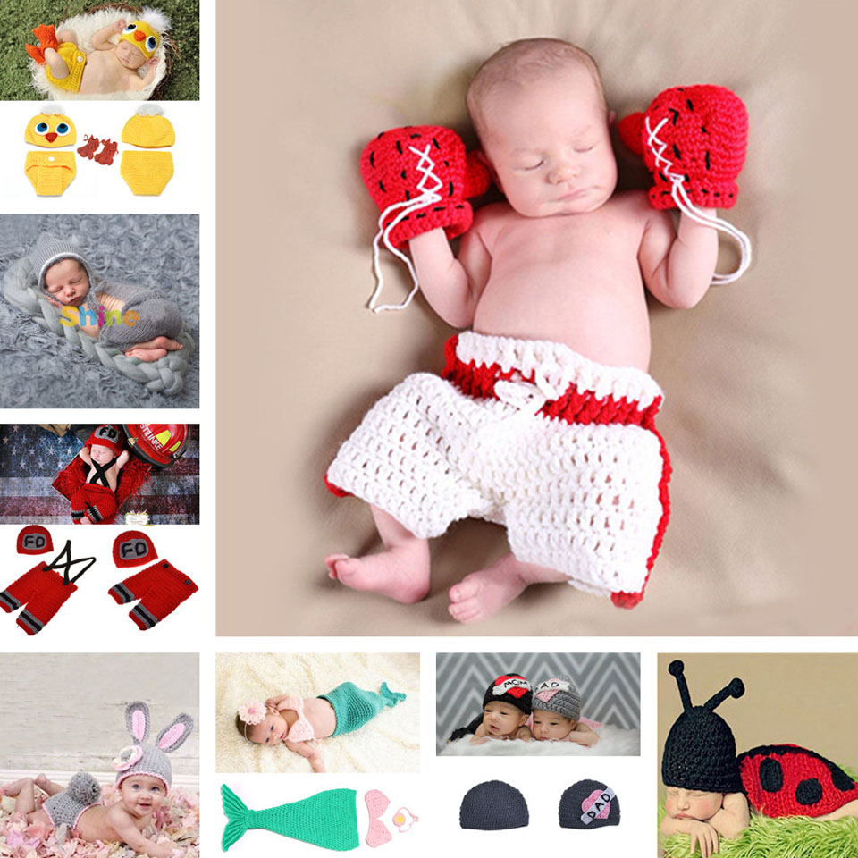Laatste Baby Boy Boksaccessoires voor Fotografie Pasgeboren Baby Ctochet Fotografia Props Bebe Gebreide Outfits 1 set MZS-15029