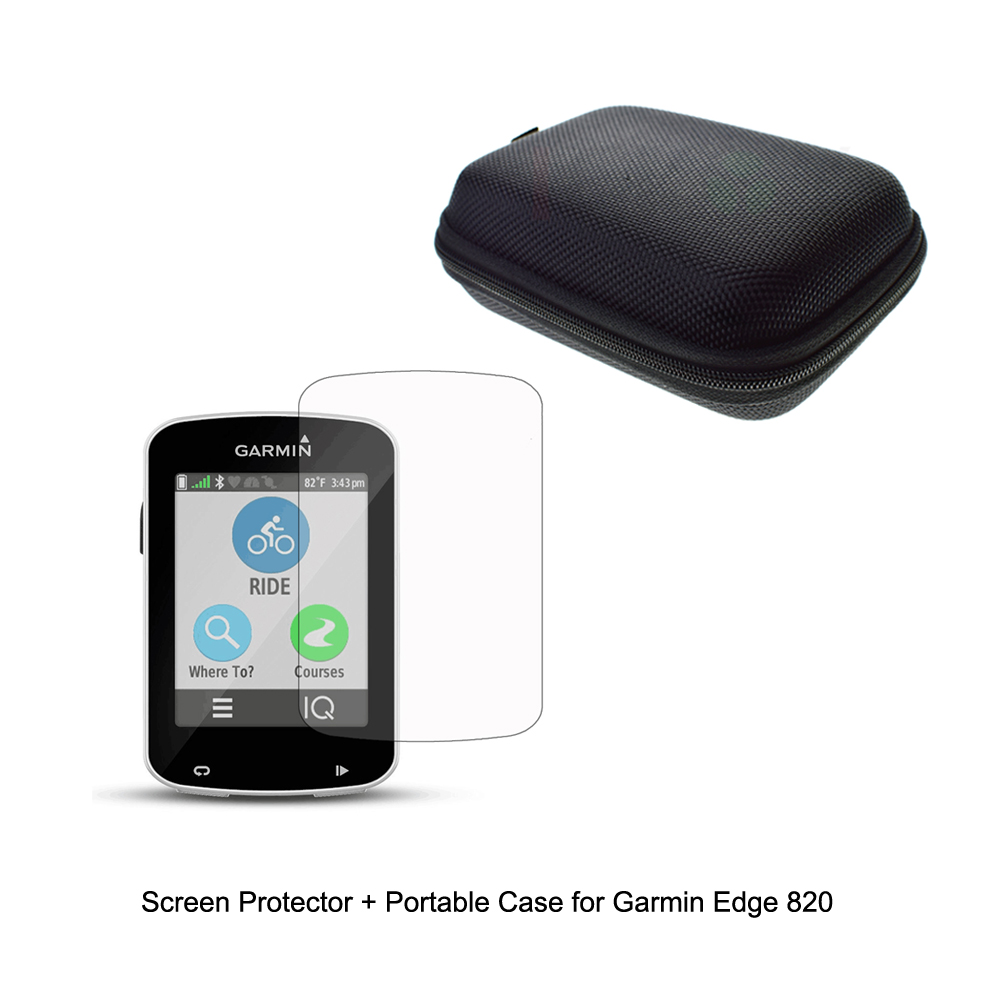 Outdoor Traveling Protect Portable Case Bag Admission Cable Cables + Clear Screen Protector Shield Film for Garmin GPS Edge 820 niko black 21 23 26 ukulele bag silver edge nylon soprano concert tenor soft case gig bag 5mm thick sponge