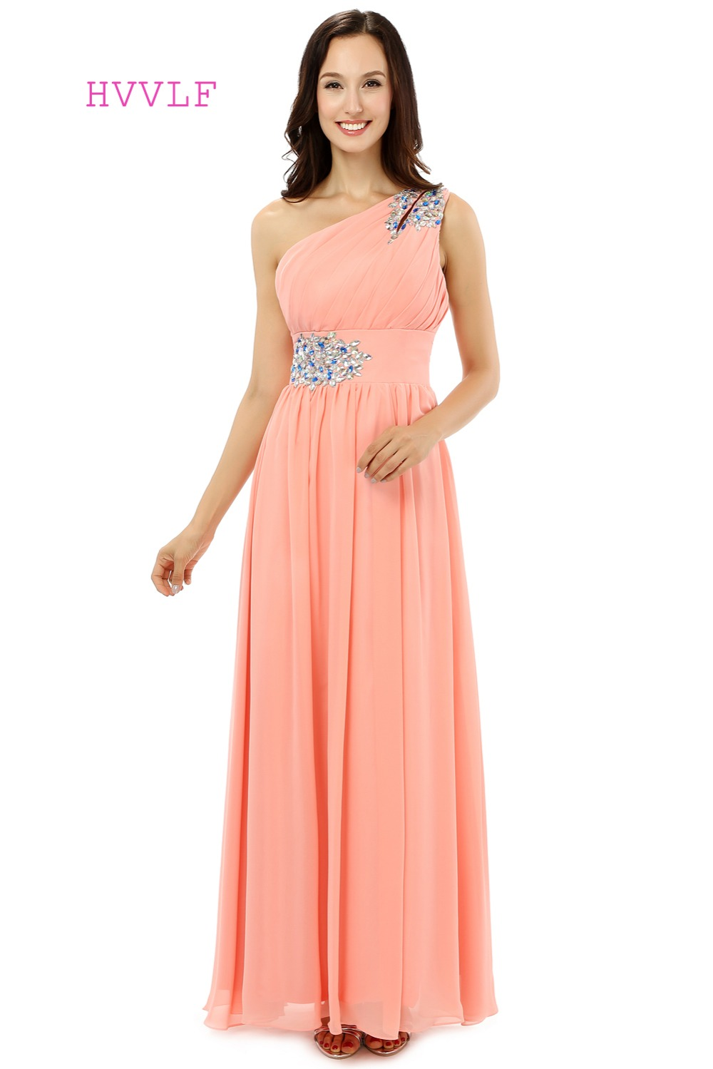 hvvlf 2017 cheap bridesmaid dresses under 50 a line one shoulder floor length coral chiffon crystals wedding party dresses