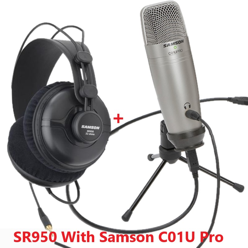 Samson SR950 with Samson C01U Pro Studio Reference Monitor Headphone Dynamic Headset Closed Ear Design for