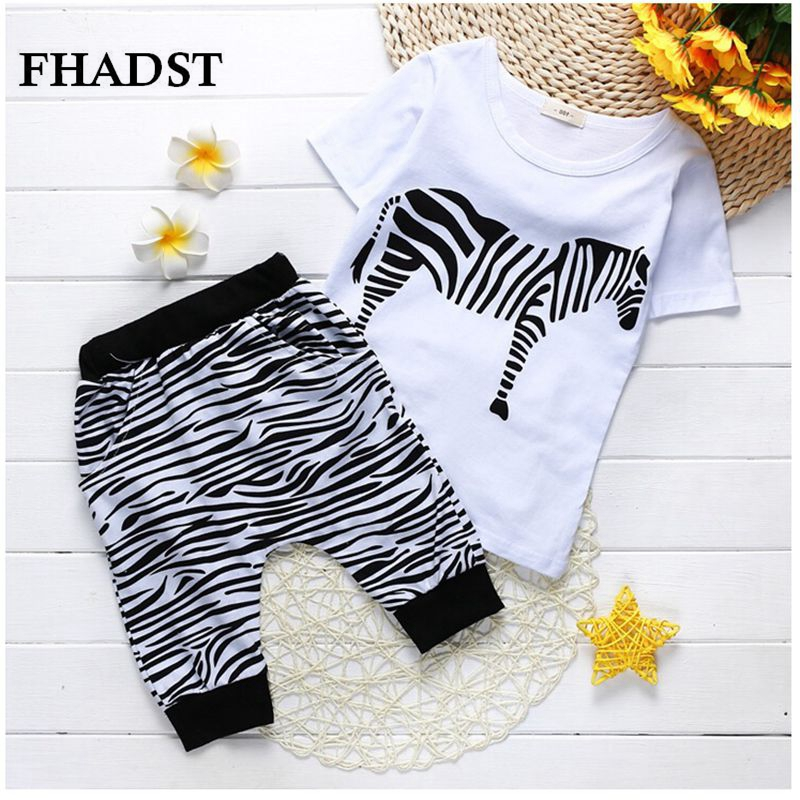 FHADST Zebra Summer Baby Boys Clothing Set Cartoon Shorts Children Kids Clothes Set Cotton Pullover Black And White Worsted 017 summer baby boys clothing set kids