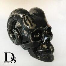 1000g High Quality Natural Black Obsidian Horn Devil Skull Figurine Hand-Carved Quartz Crystal Skull Healing Crystal Home Crafts