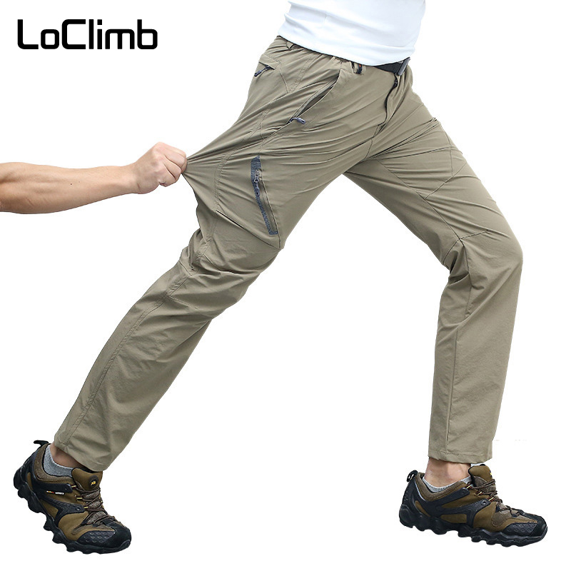 LoClimb Plus Size M-8XL High Stretch Outdoor Hiking Pants Men Summer Khaki Waterproof Sport Trousers For Trekking Cycling,AM012 outdoor softshell hiking pants men 5xl 6xl 7xl 8xl waterproof breathable bottoms male trekking sports large size trousers