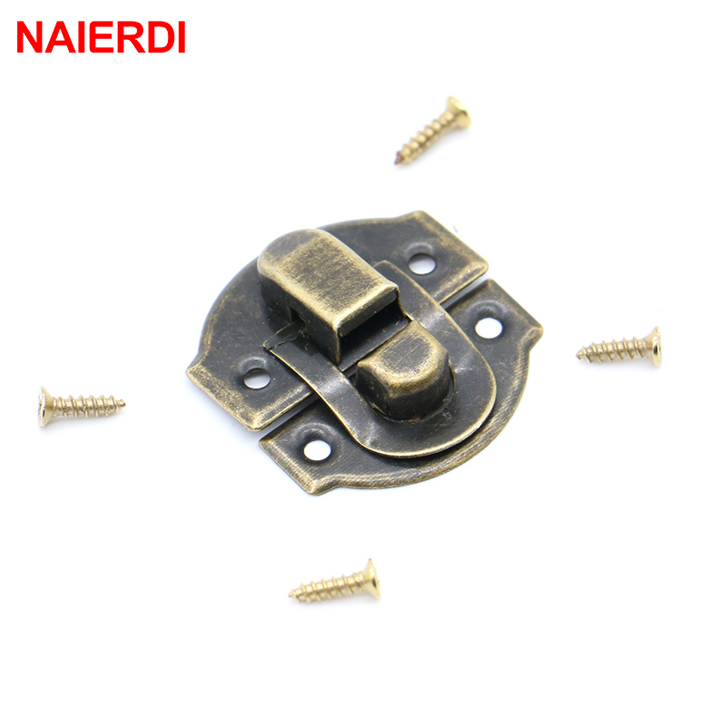 10PCS NAIERDI Antique Lock Wooden Jewelry Box Decorative Padlock 25x20mm Metal Hasps Latch With Screw Vintage Furniture Hardware