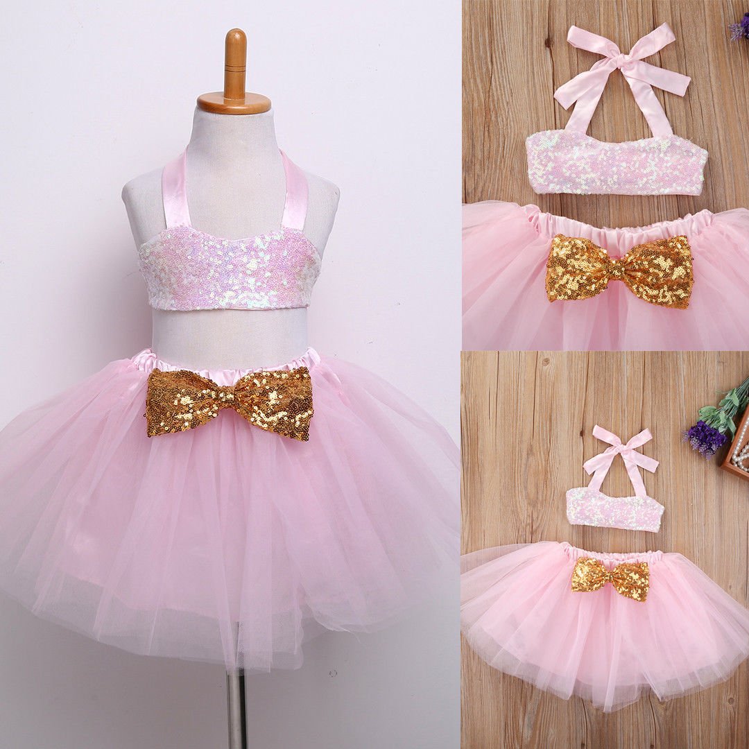 Sequins Baby Girls Kids Dress Party Formal Gown Bridesmaid Tulle Tutu Bow Dresse