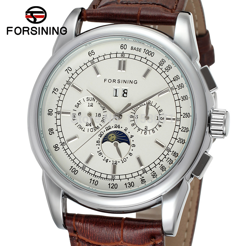Forsining Men's Watch Latest Automatic Business with Moon Phase Brown Genuine Leather Strap Wrist Watch Color Silver FSG319M3S2-in Mechanical Watches from Watches    1