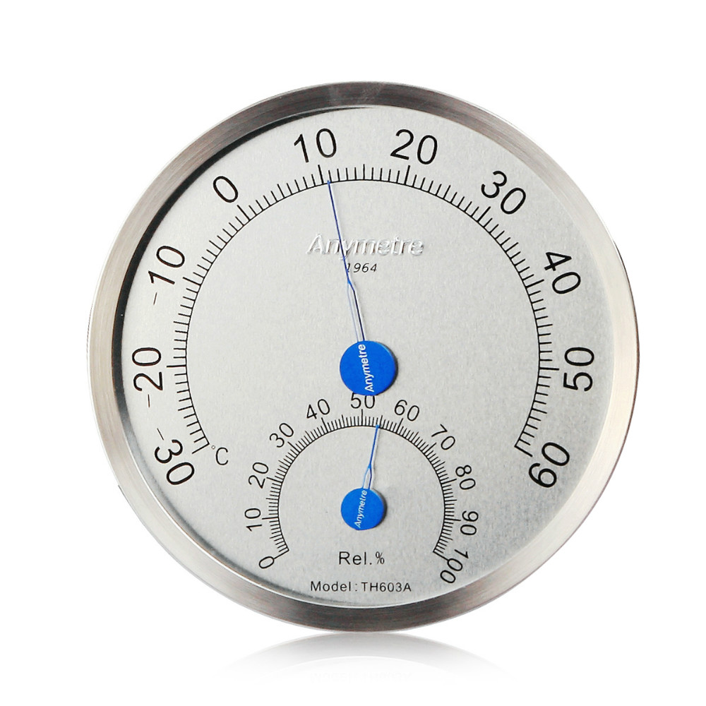 Stainless Steel Case Machinal Type Indoor Dial Hyprometer Thermometer title=