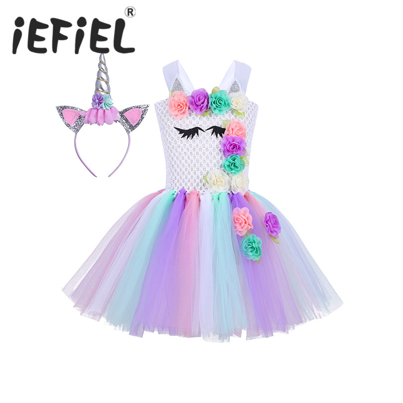 iEFiEL Kids Halloween Cosplay Party Costume Dress Children Girls Sleeveless Colorful 3D Flowers Mesh Tutu Dress with Hair Hoop