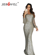 SEBOWEL Sexy Sequin Formal Women Party Dress 2019 Fringe Long Sleeve Bodycon Maxi Dresses Hollow Out Lady Evening Vestidos