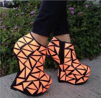 New Strange Style Spring Ankle Boots For Women High Platform Shoes Gold Green Rose Orange Shoes