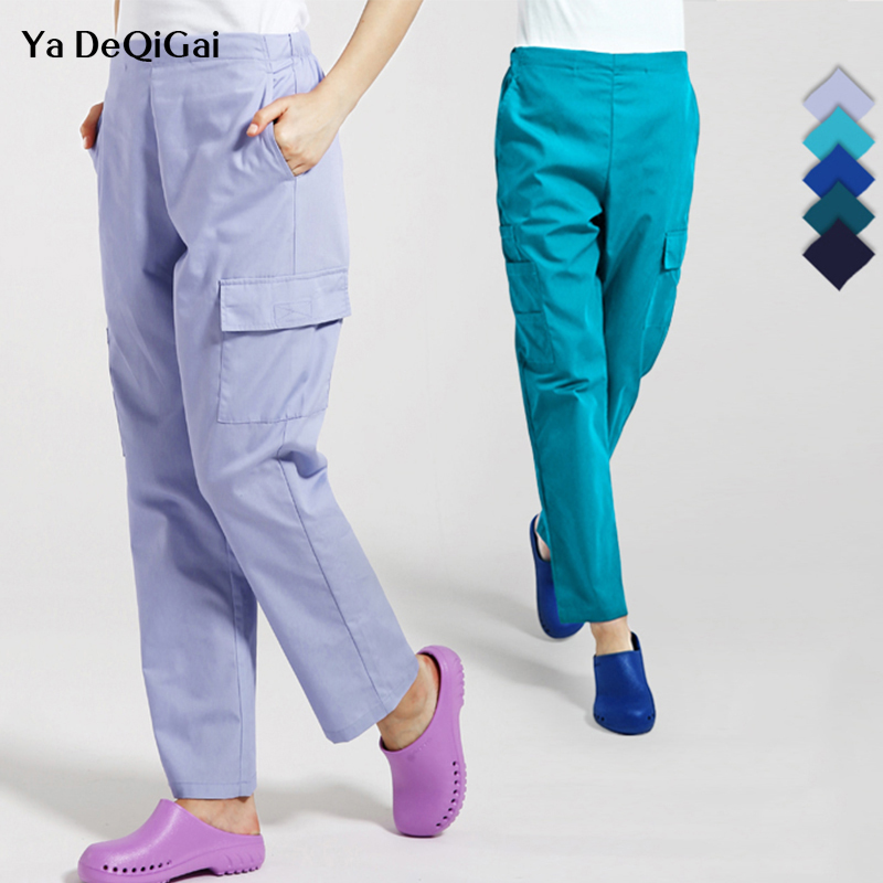 Dental Medical Scrub Pants Doctor Nurse Uniform Work Trouser Bottoms Cotton More Pockets SPA Nursing Scrub Pants Medical Scrubs