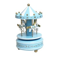 Merry Go Round Wooden Music Box Toy Child Baby Game Home Decor Carousel Horse Music Box
