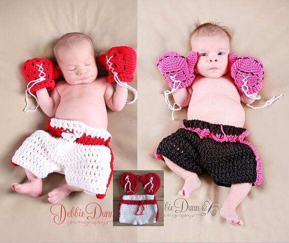 Free Shippingcrochet Baby Boxing Gloves Shorts Pant Set Costume