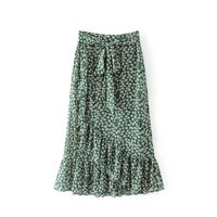 Summer Flower Print Lace Up Ruffle Empire Waist Women Skirt Casual Long Skirts Womens