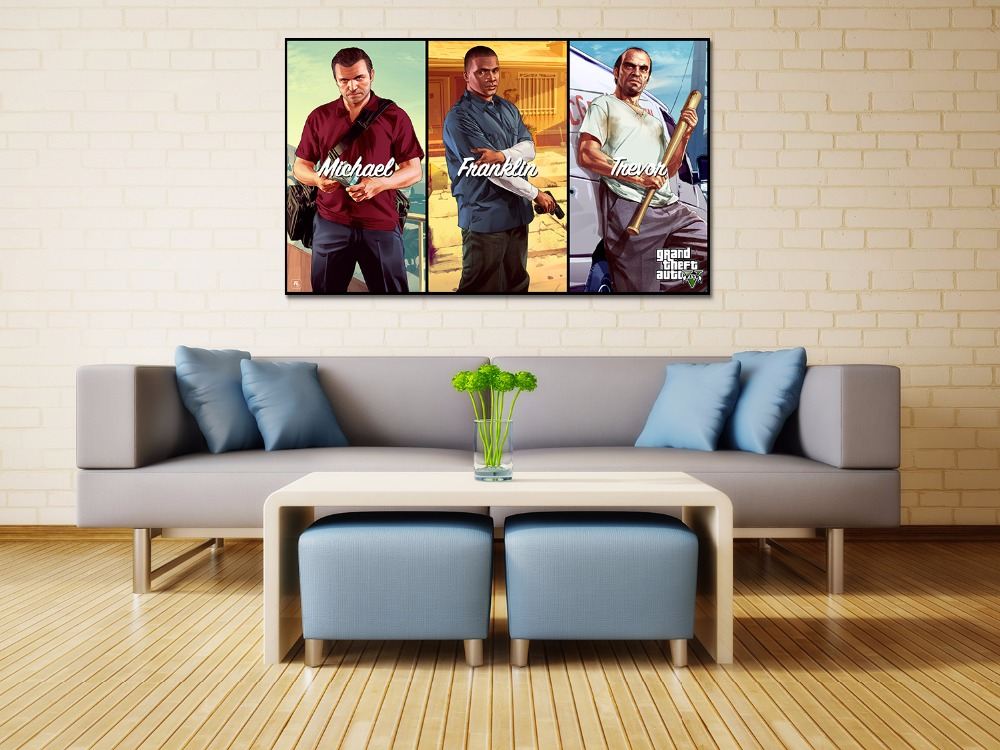 Canvas print painting Grand theft auto gta v 5 Game poster Modern Home Decor Wall art Pictures For Living Room No frame F1603