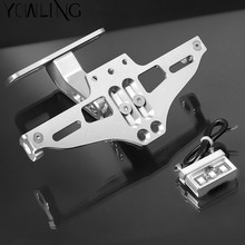 CNC Aluminum Motorcycle Rear License Plate Mount Holder with LED Light For MV Agusta F3 675 800 F4 1000 S RR RC AGO AMG