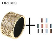 Cremo Giraffe Gold Finish Wide Rings For Woman Reversible Leather Band Jewelry Charm Geometry Unique Personalized Anillos Mujer
