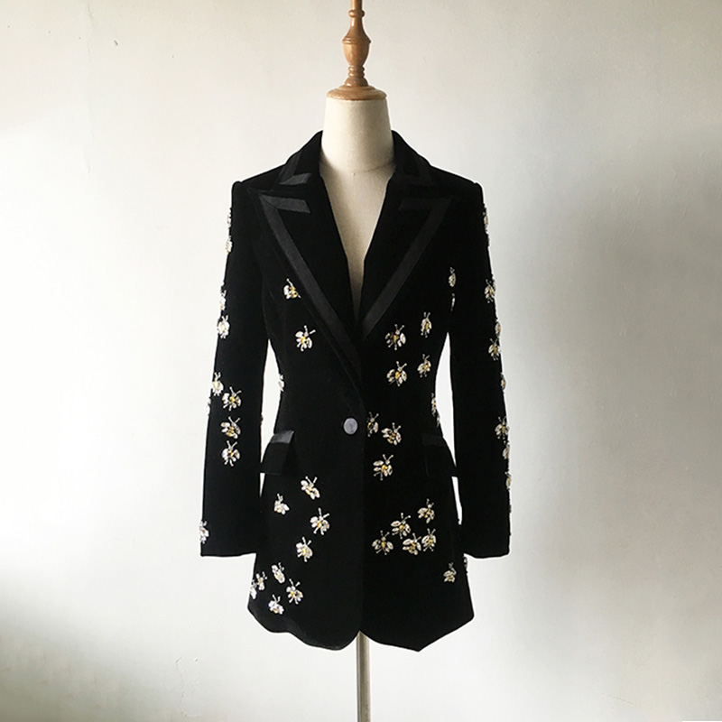 2019 Top Fashion Women's High Street Luxury Black Velvet Blazers Notched Animal Beading Fit Blazer Coat Plus Size XXXL