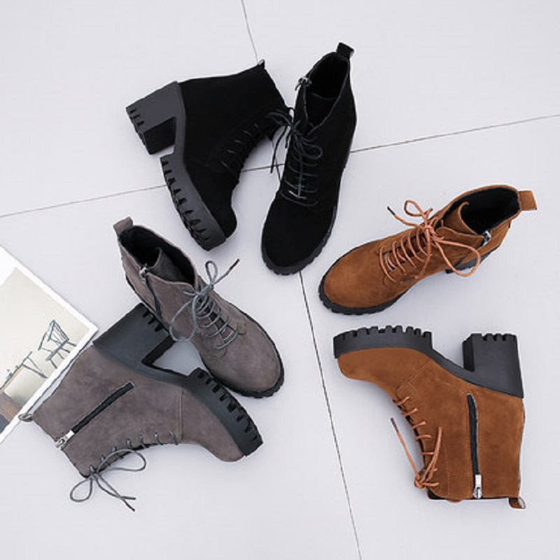 2018 new short tube autumn and winter women's boot thick with high-heeled solid color round head fashion casual warm boots wome 5