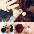 Girls Charming Fabric Rose Flower Large imitated Pearl Elastic Rope Hair Band Ponytail Holder FreeShipping