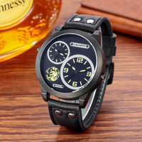 Men's Watches Cagarny 48MM Dual Time Watch Men Genuine Leather Strap Casual Sport Mens Quartz Watches Military Relogio Masculino