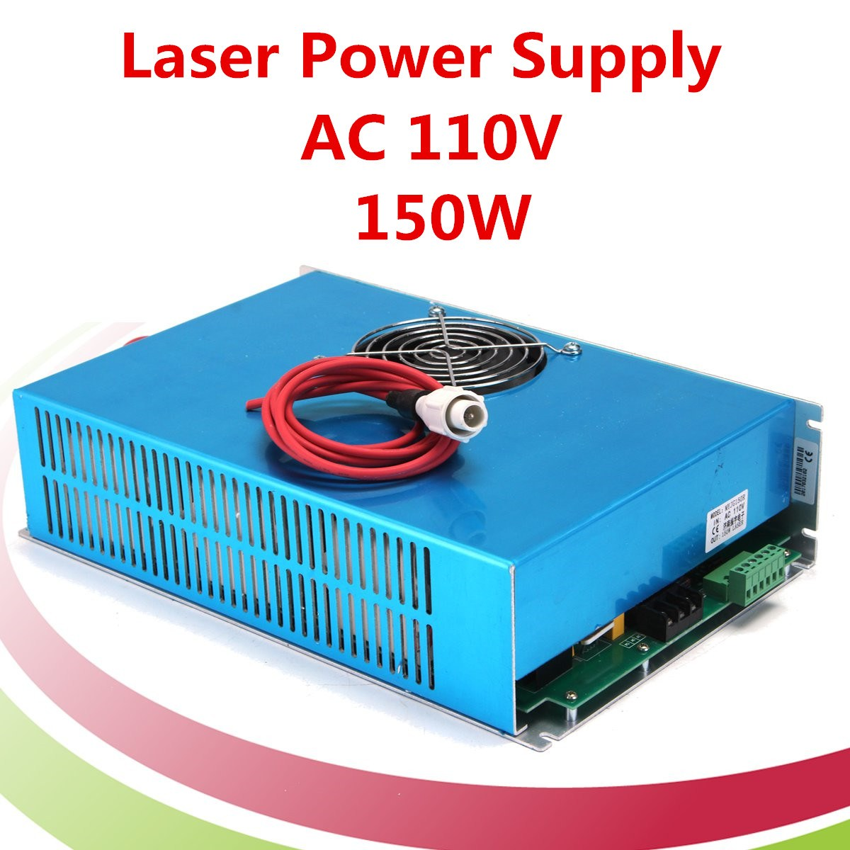 New AC 110V 150W Laser Power Supply High Speed Blue for CO2 Laser Engraving Cutting Machine Visible Light with Cable high voltage flyback transformer for co2 50w laser power supply