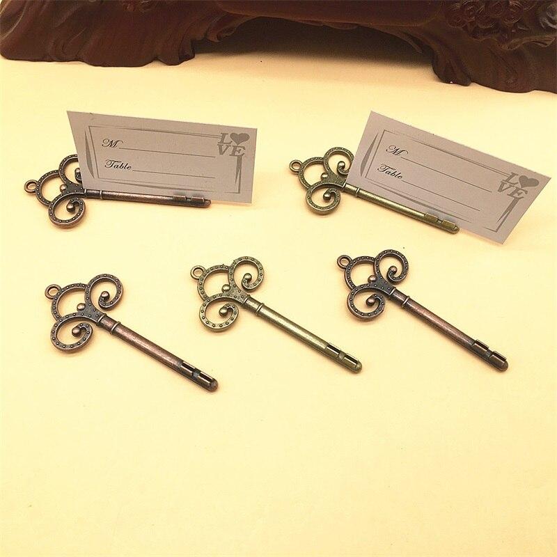 wedding favors skeleton key place card holder antique