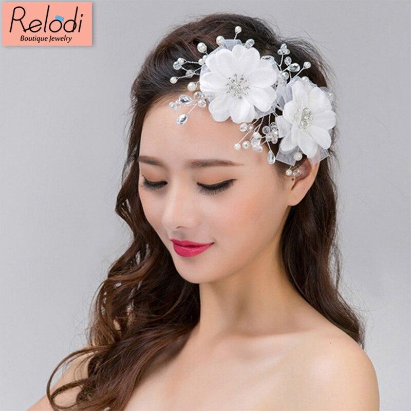 White Flower For Hair Wedding: Pearl Wedding Hair Accessories Headdress White Flowers