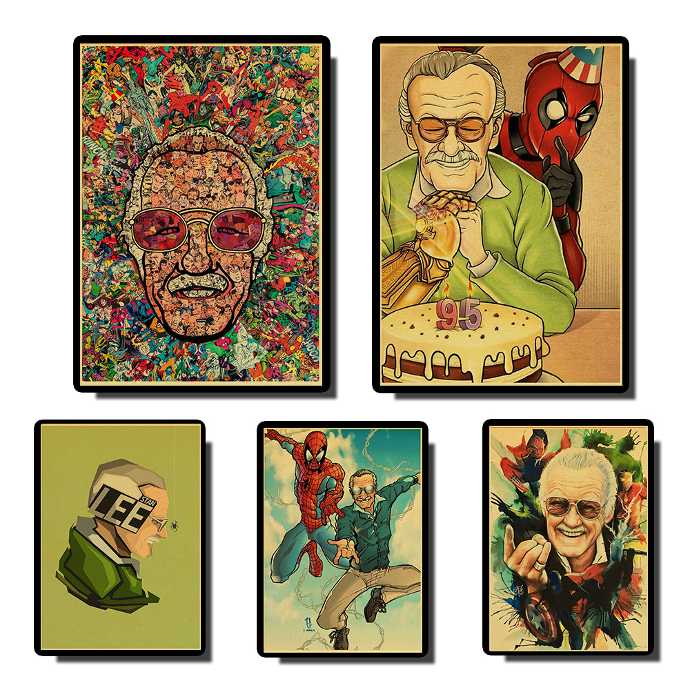 Marvel Father Stan Lee Poster Super Hereos High Quality Vintage Poster Wall Painting  For Kids Room  Coffee Bar Decor