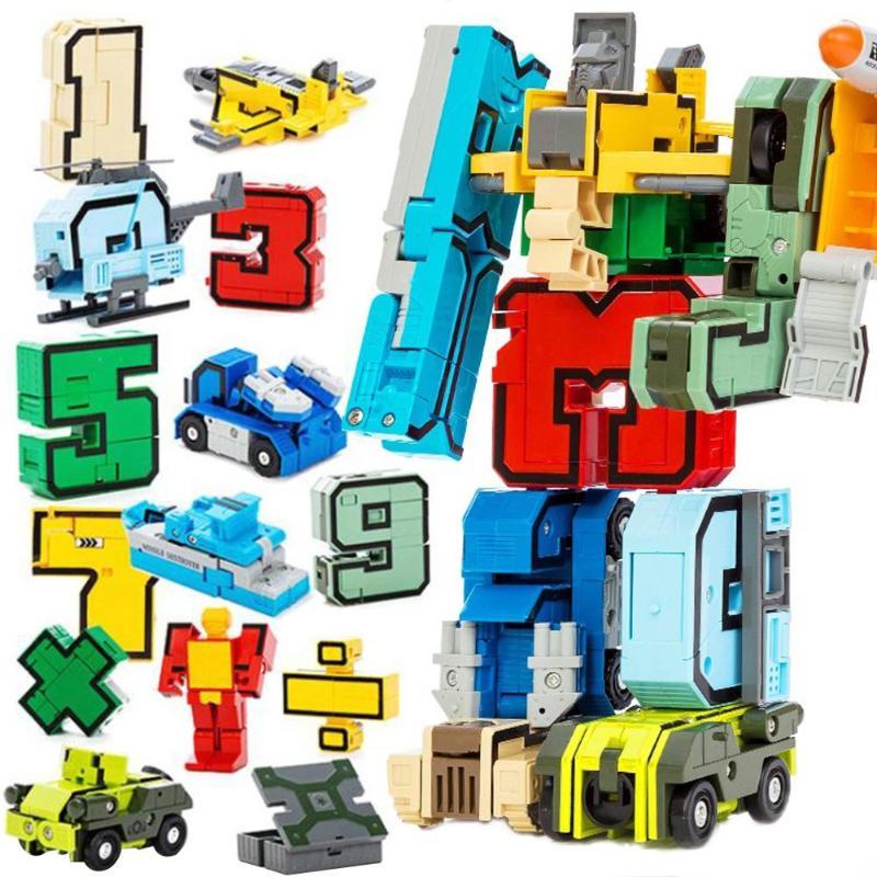 Number Symbol Transform fit Robots Team Deformed Toy Assembling Educational Action Figures Transformation Plane Car Kids Toys