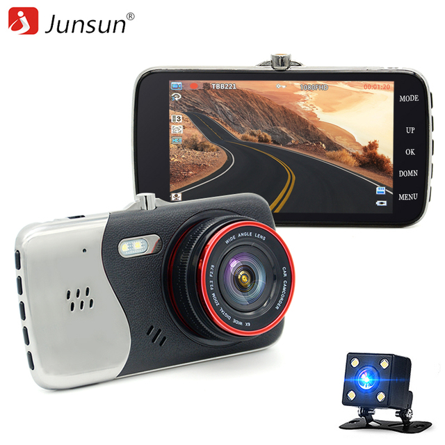 Junsun 4.0'' Двухканальный автомобильный видеорегистратор Full HD 1080P Видеорегистратор DVR