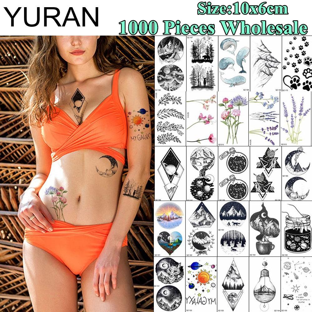 YURAN 1000 Pieces Wholesale 10x6CM Popular Fake Tattoo Temporary Geometric Wolf Rose Tatoo For Men Women Body Art Tattoo Sticker