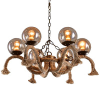 American Creative Restaurant Retro Glass Ball Chandeliers Lamp DIY Home Deco Vintage Rope Magic Bean Chandeliers