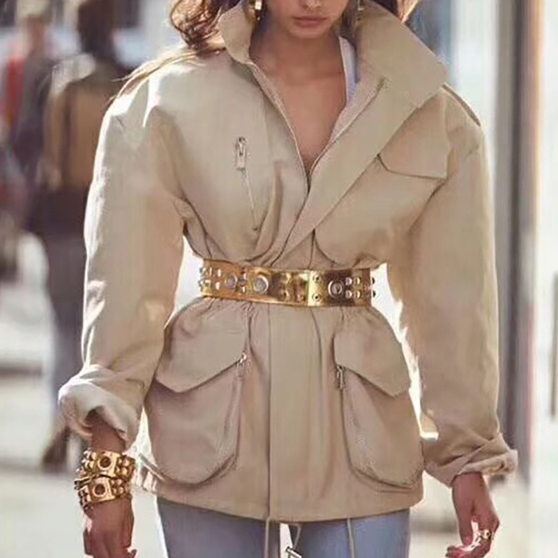 HIGH QUALITY Newest 2019 Autumn Winter Runway Designer Coat Women's Zip Pocket Military   Trench