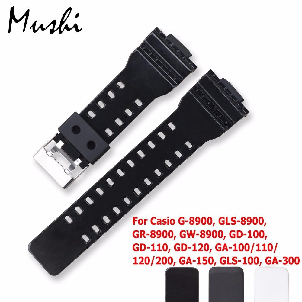 Watchband 16 մմ Casio G-shock կոնվեքս բերանի սերիայի հատուկ գլխի համար G-8900 GLS-8900 GR-8900 GW-8900 GD-100/110/120